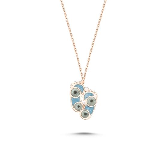Ürün resmi: Rose Kaplama Ayak İzi Simli Mavi Mineli Gümüş Bayan Kolye