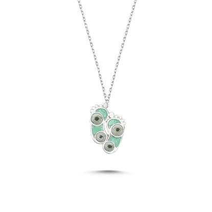 Resim Rodyum Kaplama Ayak İzi Simli Yeşil Mineli Gümüş Bayan Kolye