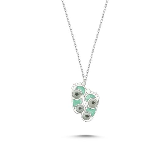 Ürün resmi: Rodyum Kaplama Ayak İzi Simli Yeşil Mineli Gümüş Bayan Kolye