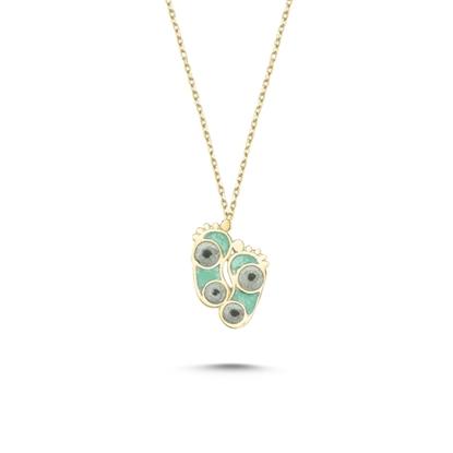 Resim Altın Kaplama Ayak İzi Simli Yeşil Mineli Gümüş Bayan Kolye