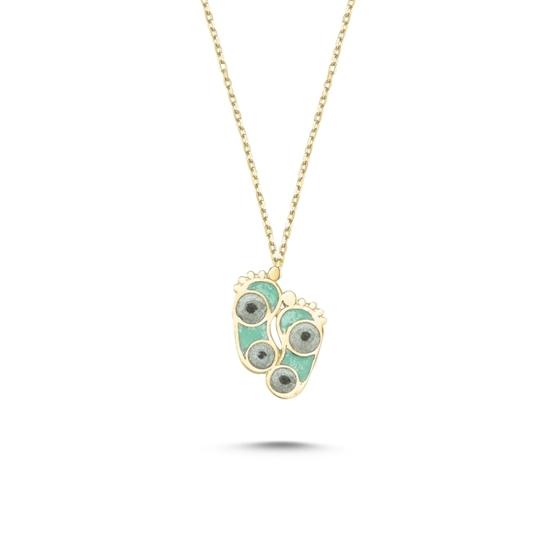 Ürün resmi: Altın Kaplama Ayak İzi Simli Yeşil Mineli Gümüş Bayan Kolye