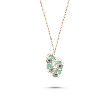 Resim Rose Kaplama Ayak İzi Simli Yeşil Mineli Gümüş Bayan Kolye