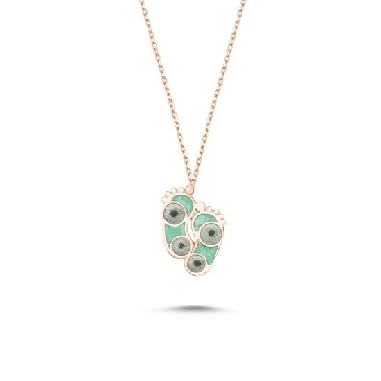 Ürün resmi: Rose Kaplama Ayak İzi Simli Yeşil Mineli Gümüş Bayan Kolye
