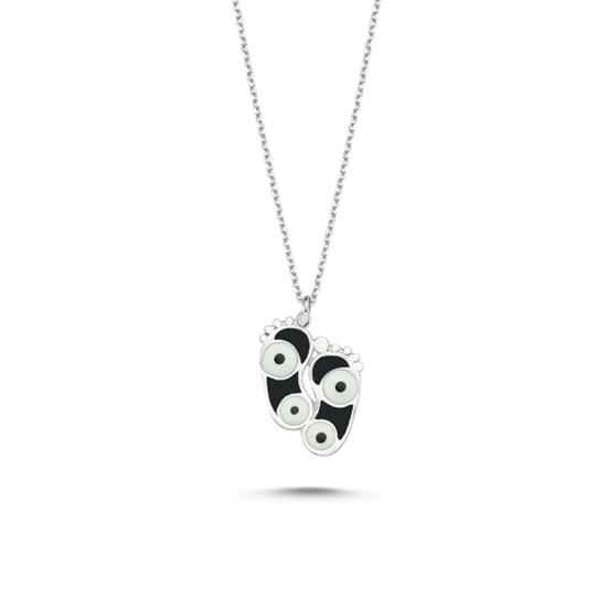 Ürün resmi: Rodyum Kaplama Ayak İzi & Göz Siyah Mineli Gümüş Bayan Kolye