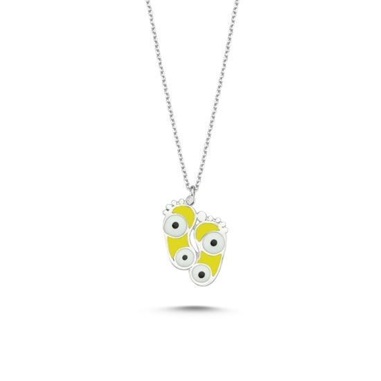 Ürün resmi: Rodyum Kaplama Ayak İzi & Göz Sarı Mineli Gümüş Bayan Kolye