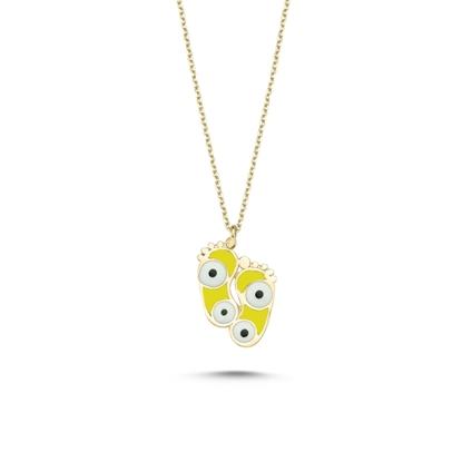 Resim Altın Kaplama Ayak İzi & Göz Sarı Mineli Gümüş Bayan Kolye