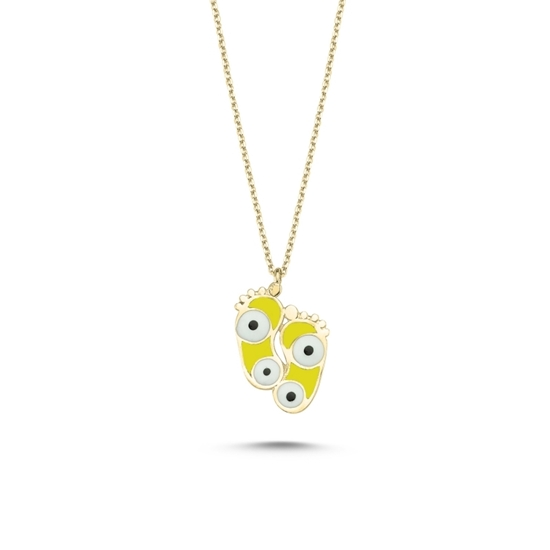 Ürün resmi: Altın Kaplama Ayak İzi & Göz Sarı Mineli Gümüş Bayan Kolye