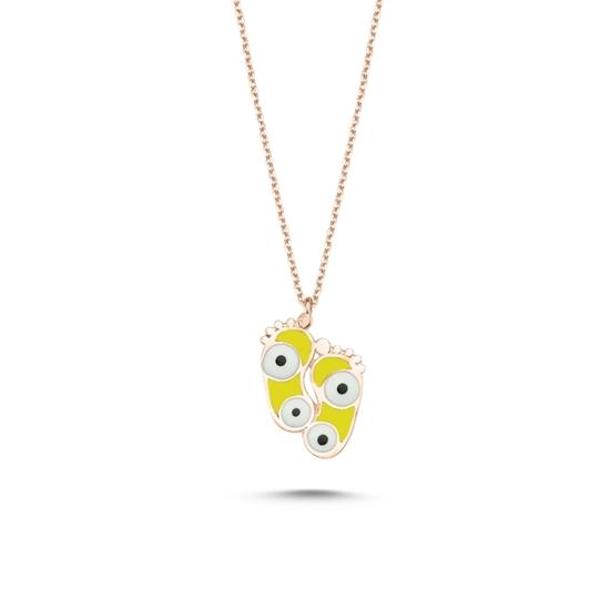 Ürün resmi: Rose Kaplama Ayak İzi & Göz Sarı Mineli Gümüş Bayan Kolye