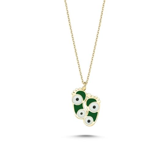 Ürün resmi: Rose Kaplama Ayak İzi & Göz Yeşil Mineli Gümüş Bayan Kolye