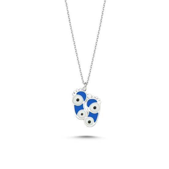 Ürün resmi: Rodyum Kaplama Ayak İzi & Göz Mavi Mineli Gümüş Bayan Kolye