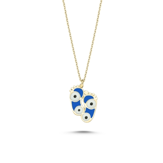 Ürün resmi: Altın Kaplama Ayak İzi & Göz Mavi Mineli Gümüş Bayan Kolye
