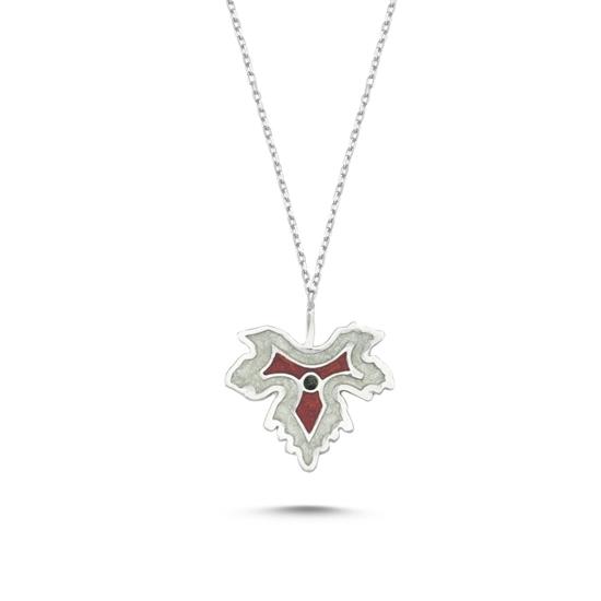 Ürün resmi: Rodyum Kaplama Çınar Yaprağı Simli Kırmızı Mineli Gümüş Bayan Kolye