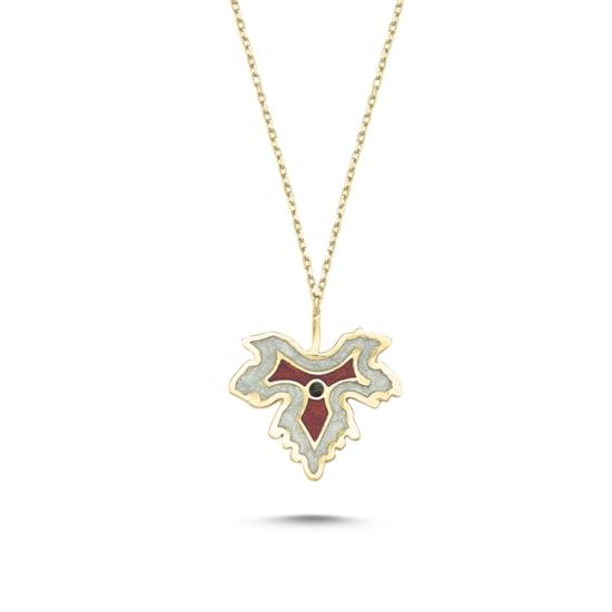 Ürün resmi: Altın Kaplama Çınar Yaprağı Simli Kırmızı Mineli Gümüş Bayan Kolye