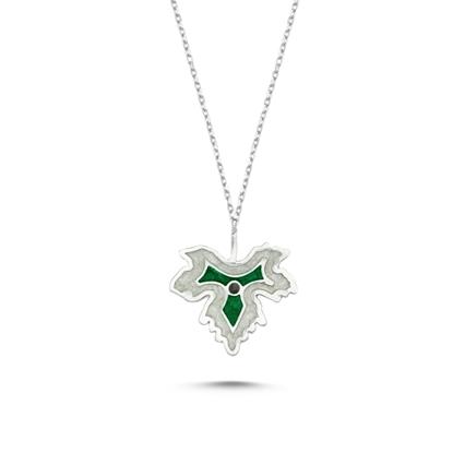 Resim Rodyum Kaplama Çınar Yaprağı Simli Yeşil Mineli Gümüş Bayan Kolye