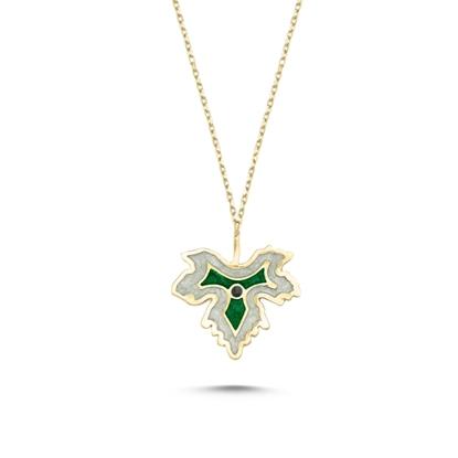 Resim Altın Kaplama Çınar Yaprağı Simli Yeşil Mineli Gümüş Bayan Kolye