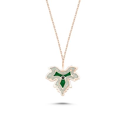 Resim Rose Kaplama Çınar Yaprağı Simli Yeşil Mineli Gümüş Bayan Kolye