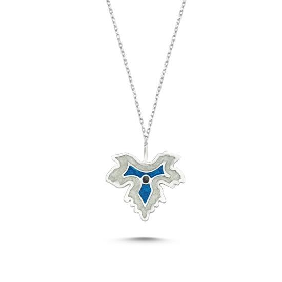 Ürün resmi: Rodyum Kaplama Çınar Yaprağı Simli Mavi Mineli Gümüş Bayan Kolye