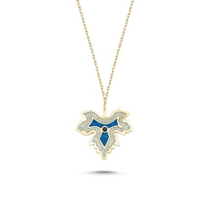Resim Altın Kaplama Çınar Yaprağı Simli Mavi Mineli Gümüş Bayan Kolye
