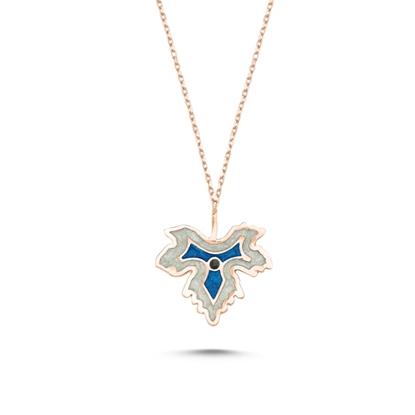 Resim Rose Kaplama Çınar Yaprağı Simli Mavi Mineli Gümüş Bayan Kolye