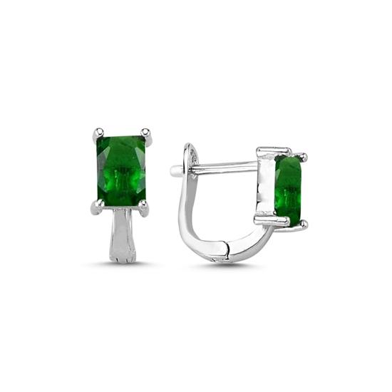 Ürün resmi: Rodyum Kaplama Zümrüt Zirkon (Yeşil) Zirkon Taşlı Gümüş J Küpe