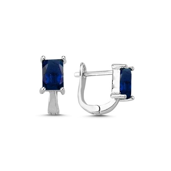 Ürün resmi: Rodyum Kaplama Safir Zirkon (Lacivert) Zirkon Taşlı Gümüş J Küpe