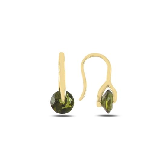 Ürün resmi: Altın Kaplama Olive Zirkon Taşlı Gümüş Küpe