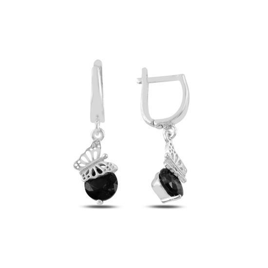Ürün resmi: Rodyum Kaplama Siyah Zirkon Taşlı Gümüş Sallantılı Küpe