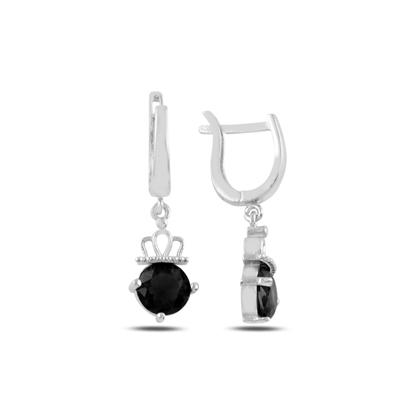Resim Rodyum Kaplama Siyah Zirkon Taşlı Gümüş Sallantılı Küpe