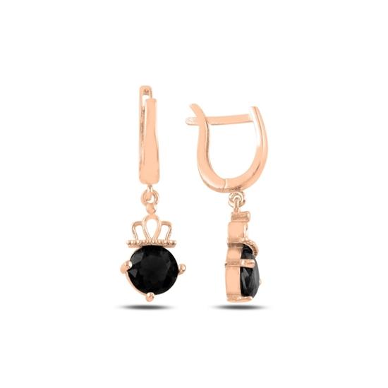Ürün resmi: Rose Kaplama Siyah Zirkon Taşlı Gümüş Sallantılı Küpe