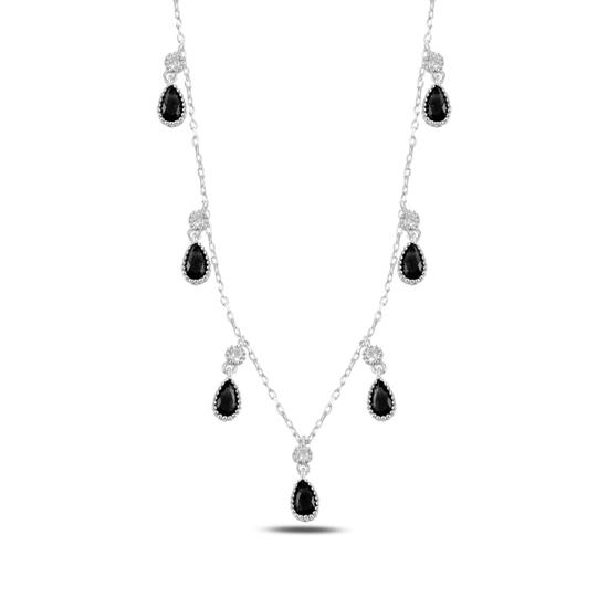 Ürün resmi: Siyah Zirkon Damla Zirkon Taşlı Sallantılı Gümüş Bayan Kolye