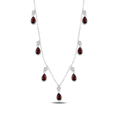 Resim Garnet Zirkon (Kırmızı) Damla Zirkon Taşlı Sallantılı Gümüş Bayan Kolye