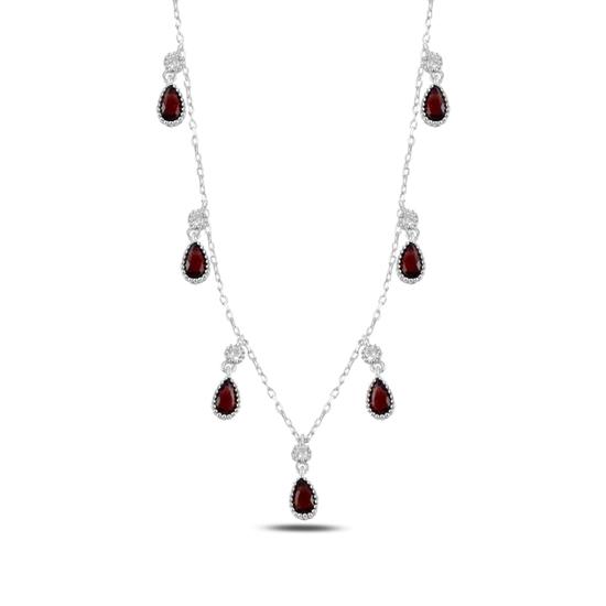 Ürün resmi: Garnet Zirkon (Kırmızı) Damla Zirkon Taşlı Sallantılı Gümüş Bayan Kolye