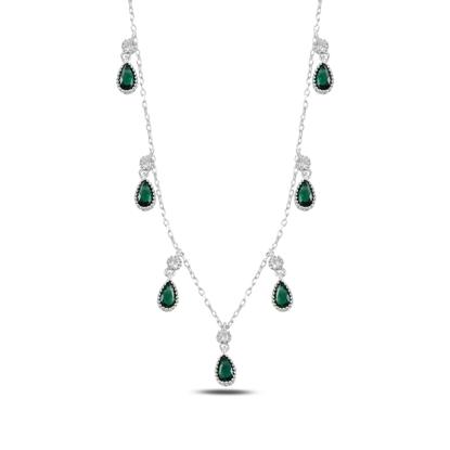 Resim Zümrüt Zirkon (Yeşil) Damla Zirkon Taşlı Sallantılı Gümüş Bayan Kolye
