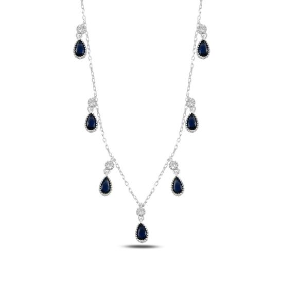 Ürün resmi: Safir Zirkon (Lacivert) Damla Zirkon Taşlı Sallantılı Gümüş Bayan Kolye