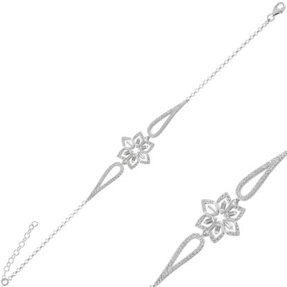 Resim Rodyum Kaplama Çiçek Baget Zirkon Taşlı Gümüş Bayan Bileklik
