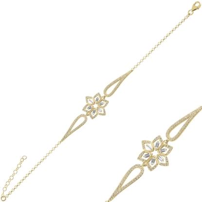 Resim Altın Kaplama Çiçek Baget Zirkon Taşlı Gümüş Bayan Bileklik