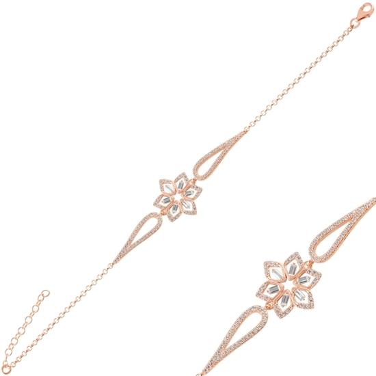 Ürün resmi: Rose Kaplama Çiçek Baget Zirkon Taşlı Gümüş Bayan Bileklik