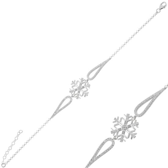 Ürün resmi: Rodyum Kaplama Kar Tanesi Baget Zirkon Taşlı Gümüş Bayan Bileklik