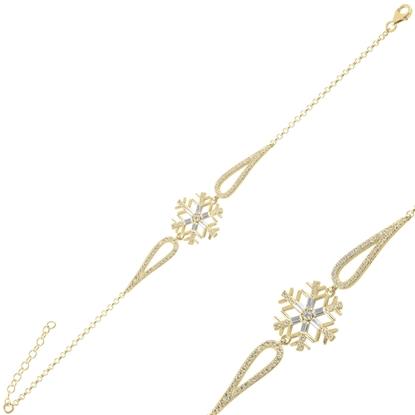 Resim Altın Kaplama Kar Tanesi Baget Zirkon Taşlı Gümüş Bayan Bileklik