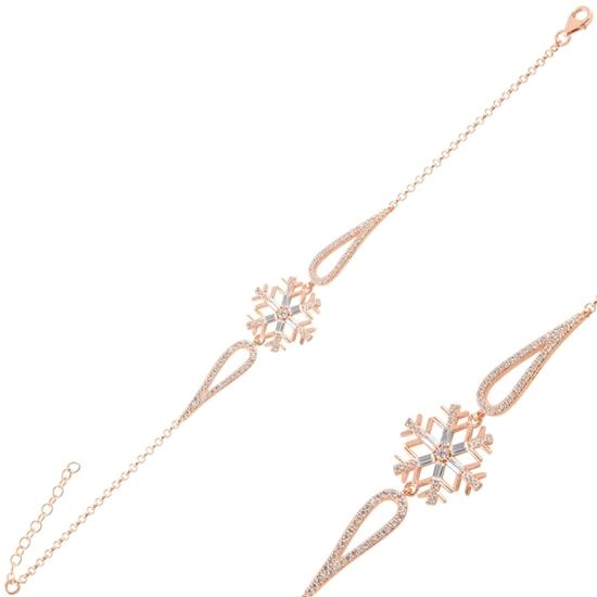 Ürün resmi: Rose Kaplama Kar Tanesi Baget Zirkon Taşlı Gümüş Bayan Bileklik