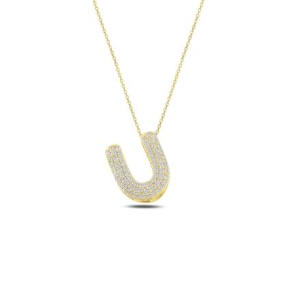 Resim Altın Kaplama -U- Harfi Zirkon Taşlı Gümüş Bayan Hayalet Kolye