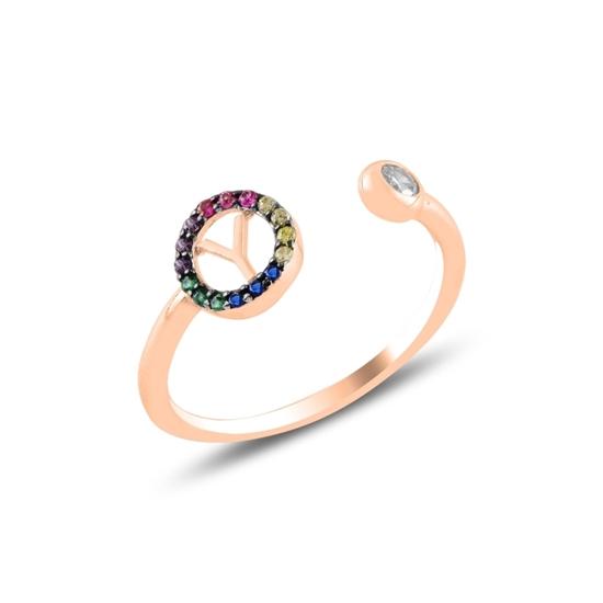 Ürün resmi: Rose Kaplama -Y- Harfi Renkli Zirkon Taşlı Ayarlanabilir Boylu Gümüş Bayan Yüzük