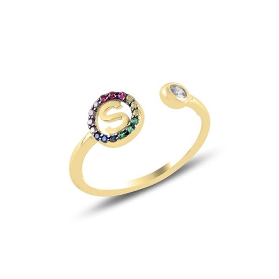 Ürün resmi: Altın Kaplama -S- Harfi Renkli Zirkon Taşlı Ayarlanabilir Boylu Gümüş Bayan Yüzük