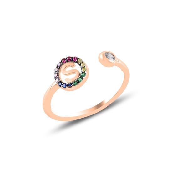 Ürün resmi: Rose Kaplama -S- Harfi Renkli Zirkon Taşlı Ayarlanabilir Boylu Gümüş Bayan Yüzük