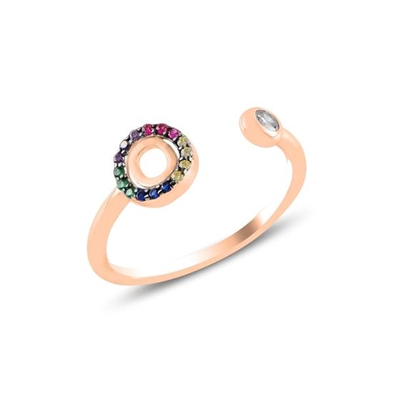 Ürün resmi: Rose Kaplama -O- Harfi Renkli Zirkon Taşlı Ayarlanabilir Boylu Gümüş Bayan Yüzük