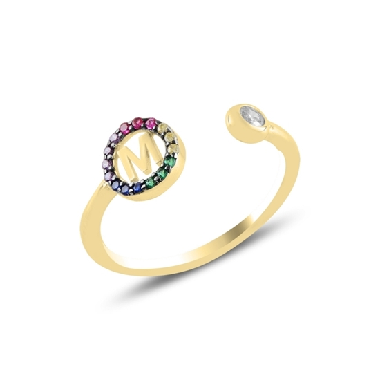 Ürün resmi: Altın Kaplama -M- Harfi Renkli Zirkon Taşlı Ayarlanabilir Boylu Gümüş Bayan Yüzük