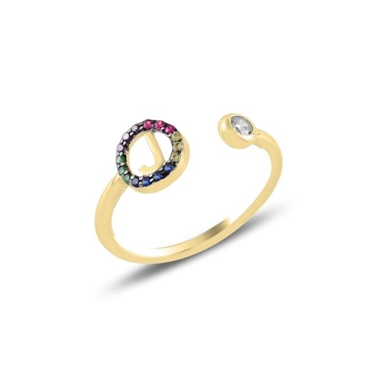 Ürün resmi: Altın Kaplama -J- Harfi Renkli Zirkon Taşlı Ayarlanabilir Boylu Gümüş Bayan Yüzük