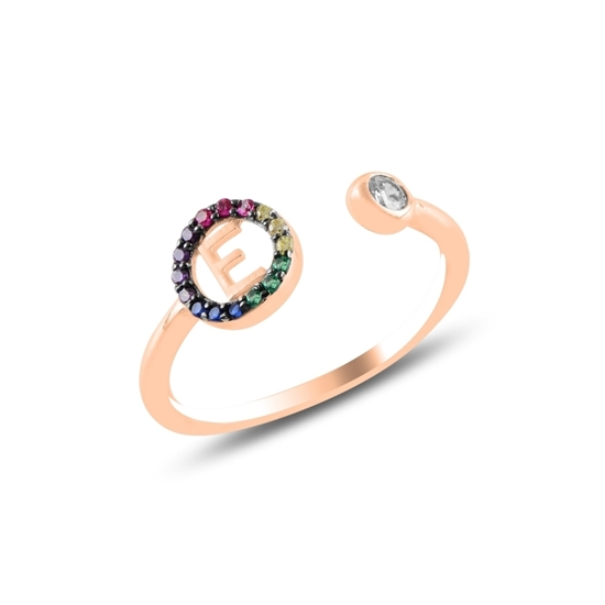 Ürün resmi: Rose Kaplama -E- Harfi Renkli Zirkon Taşlı Ayarlanabilir Boylu Gümüş Bayan Yüzük