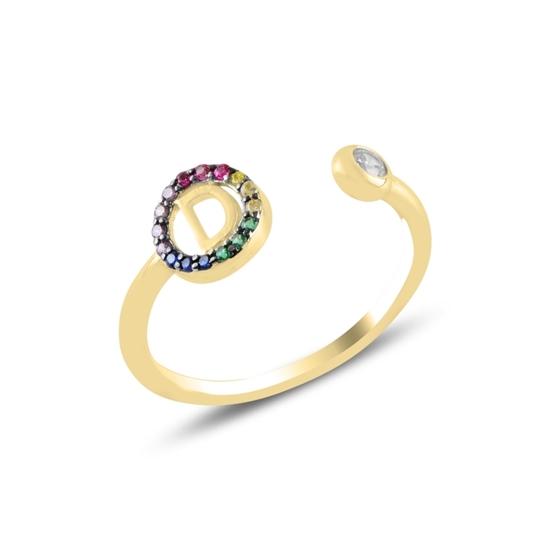 Ürün resmi: Altın Kaplama -D- Harfi Renkli Zirkon Taşlı Ayarlanabilir Boylu Gümüş Bayan Yüzük