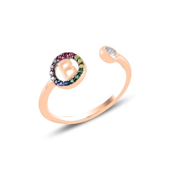 Ürün resmi: Rose Kaplama -B- Harfi Renkli Zirkon Taşlı Ayarlanabilir Boylu Gümüş Bayan Yüzük